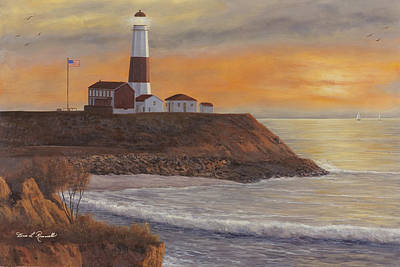 Monntauk Lighthouse Sunset Art Print