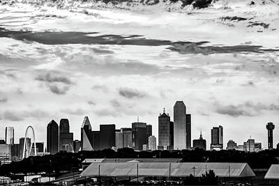 Photograph - Monochromatic Dallas City Skyline by Gregory Ballos