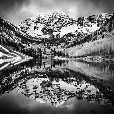 Photograph - Monochromatic Maroon Bells - Colorado Mountain Landscape - 1x1 by Gregory Ballos