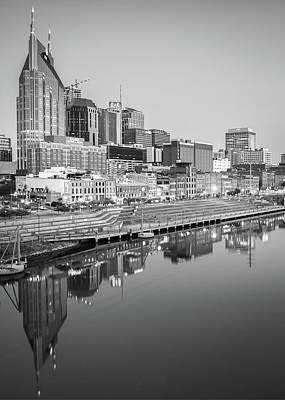 Photograph - Monochromatic Nashville Skyline Reflections by Gregory Ballos