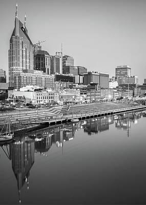 Photograph - Monochromatic Nashville Skyline Reflections by Gregory Ballos
