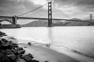 Photograph - Monochromatic San Francisco California Bridge by Gregory Ballos