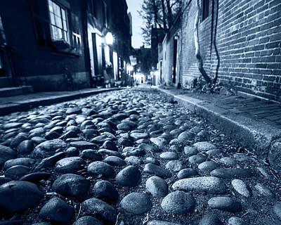 Monochrome Blue Acorn Street Cobblestone Detail Boston Ma Art Print
