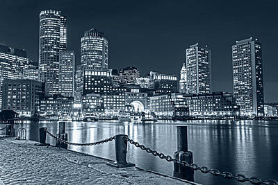Photograph - Monochrome Blue Boston Waterfront Boston Skyline Boston Ma Harbor Towers by Toby McGuire