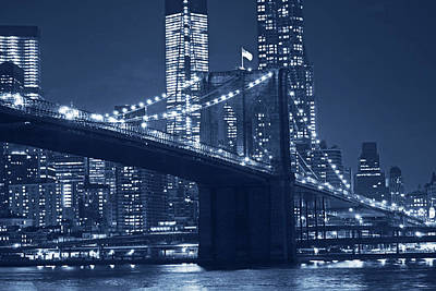Photograph - Monochrome Blue Brooklyn Bridge From Empire Fulton Ferry State Park by Toby McGuire