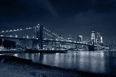 Photograph - Monochrome Blue Brooklyn Bridge New York City by Toby McGuire