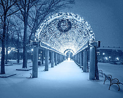 Photograph - Monochrome Blue Christopher Columbus Park Trellis Lit Up For Christmas Snowstorm Boston Ma Bench by Toby McGuire