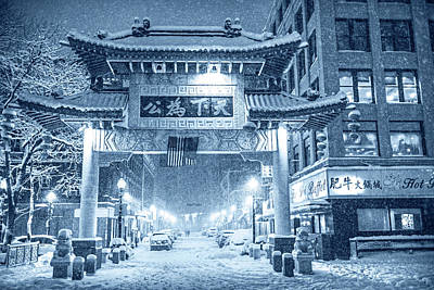 Photograph - Monochrome Blue Nights Boston Chinatown Gate During Snowsstorm Skylar Boston Ma by Toby McGuire