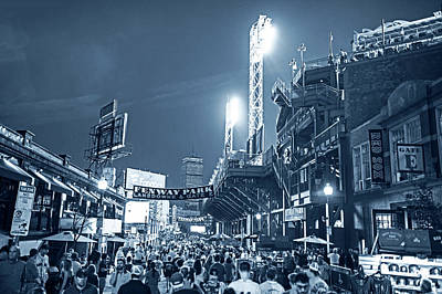 Photograph - Monochrome Blue Nights Boston Ma Lansdowne St Fenway Park Game Night by Toby McGuire
