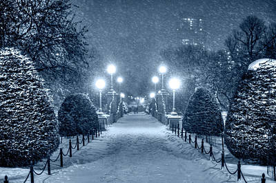 Photograph - Monochrome Blue Nights Boston Public Garden Snow Storm Ma Massachusetts Bridge Lights by Toby McGuire