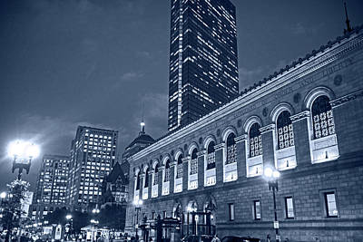 Photograph - Monochrome Blue Nights Boston Public Library Boylston Street Boston Ma by Toby McGuire