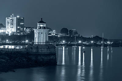 Photograph - Monochrome Blue Nights Bug Light At Night Bug Light Park Portland Maine by Toby McGuire