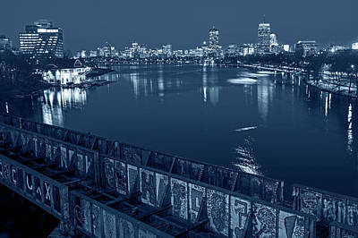 Photograph - Monochrome Blue Nights Charles River At Dusk Dewolfe Boathouse Boston Skyline by Toby McGuire