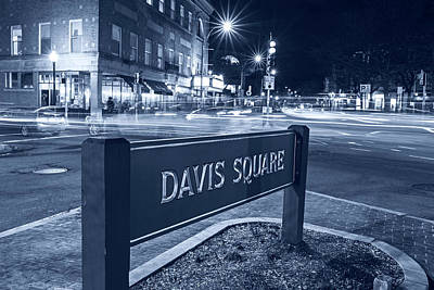 Photograph - Monochrome Blue Nights Davis Square Sign Somerville Ma by Toby McGuire