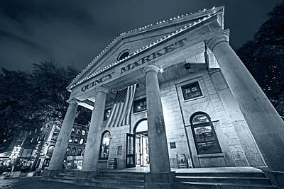Photograph - Monochrome Blue Nights Faneuil Hall Quincy Market Boston Ma by Toby McGuire