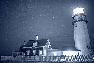 Photograph - Monochrome Blue Nights Highland Light Truro Massachusetts Cape Cod Starry Sky by Toby McGuire