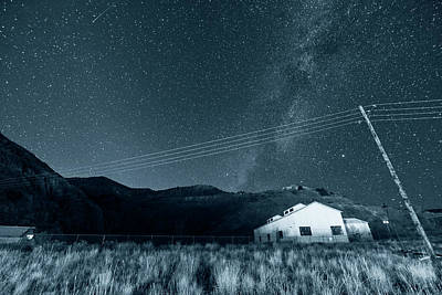 Photograph - Monochrome Blue Nights Jerome Arizona Ghost Town Starry Skies Mining Town Milky Way by Toby McGuire