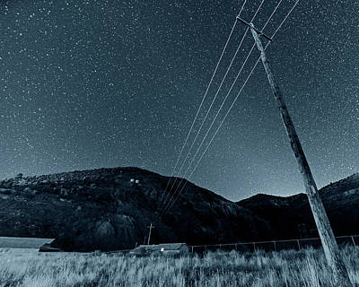 Photograph - Monochrome Blue Nights Jerome Arizona Ghost Town Starry Skies Mining Town by Toby McGuire