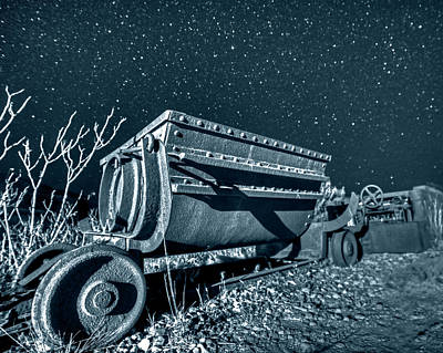 Photograph - Monochrome Blue Nights Jerome Az Mine Cart Jerome Arizona by Toby McGuire