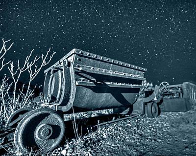 Photograph - Monochrome Blue Nights Jerome Az Mine Cart Jerome Arizona by Toby McGuire