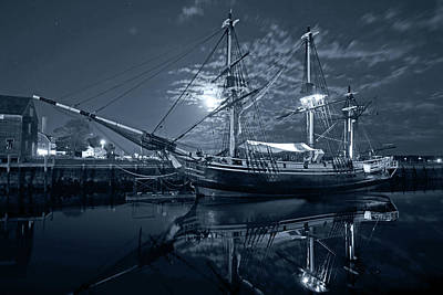 Photograph - Monochrome Blue Nights Moon Over The Salem Friendship by Toby McGuire
