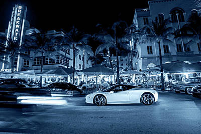 Photograph - Monochrome Blue Nights Ocean Ave At Night Miami Florida The Breakwater by Toby McGuire