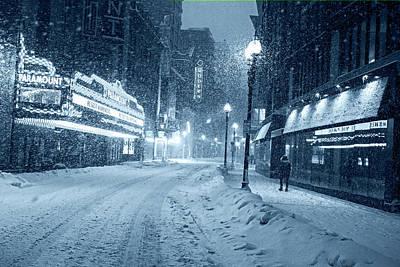 Photograph - Monochrome Blue Nights Paramount Snowstorm Boston Ma Washington Street by Toby McGuire