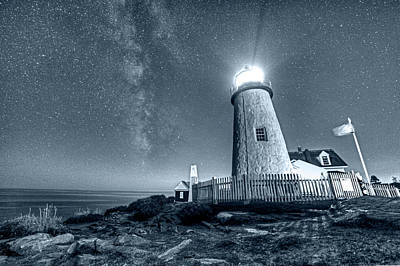 Photograph - Monochrome Blue Nights Pemaquid Point Lighthouse Bristol Road Maine by Toby McGuire