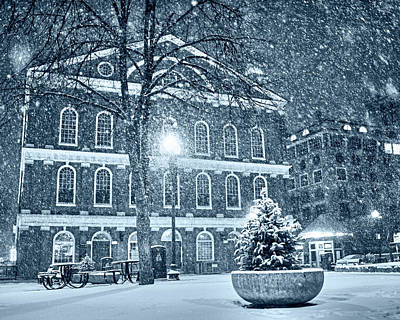 Photograph - Monochrome Blue Nights Snow Storm In Faneuil Hall Quincy Market Boston Ma by Toby McGuire