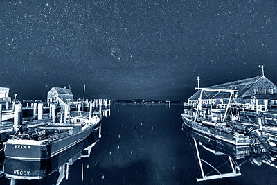 Photograph - Monochrome Blue Nights Starry Skies Over Edgartown Ma Cape Cod by Toby McGuire