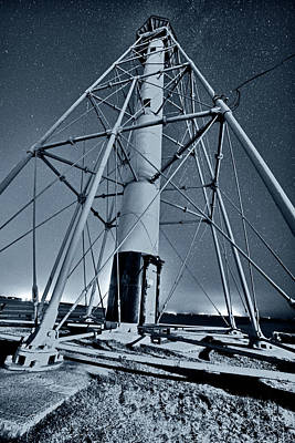 Photograph - Monochrome Blue Nights Stars Over The Marblehead Light Tower Marblehead Ma by Toby McGuire