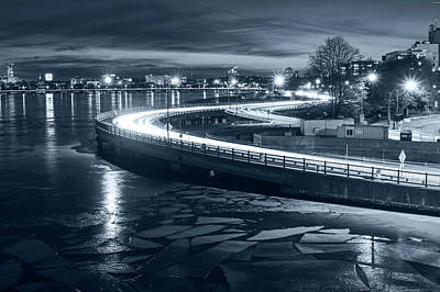 Photograph - Monochrome Blue Nights The Icy Charles River At Night Boston Ma Cambridge by Toby McGuire
