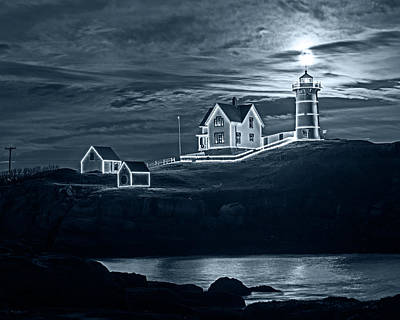 Photograph - Monochrome Blue Nights The Supermoon Rising Over The Nubble Lighthouse York Maine Reflection by Toby McGuire