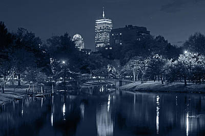 Photograph - Monochrome Blue Nights Prudential Over The Charles River by Toby McGuire