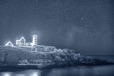 Photograph - Monochrome Blue Starry Sky Of The Nubble Light In York Me Cape Neddick by Toby McGuire