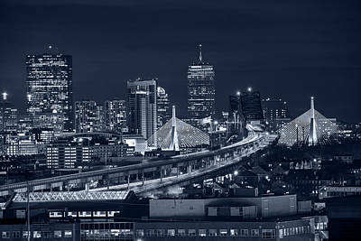 Photograph - Monochrome Blue The Boston Skyline Boston Ma Full Zakim by Toby McGuire