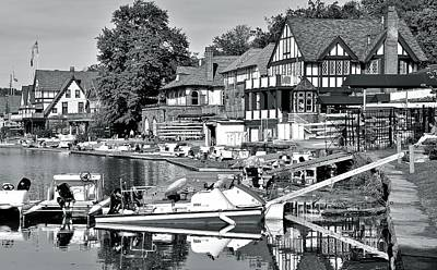 Photograph - Monochrome Boathouse Row by Frozen in Time Fine Art Photography