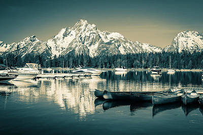 Photograph - Monochrome Boats On Colter Bay by Dan Sproul