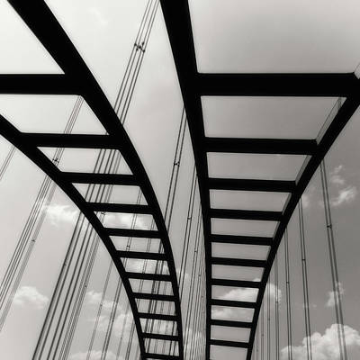 Photograph - Monochrome Bridge Square by Tony Grider