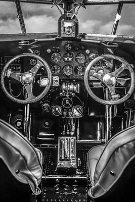 Monochrome Cockpit Art Print