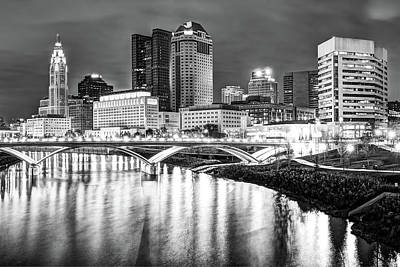Photograph - Monochrome Columbus Skyline At Night by Gregory Ballos