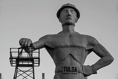Photograph - Monochrome Driller - Tulsa Oklahoma Statue by Gregory Ballos