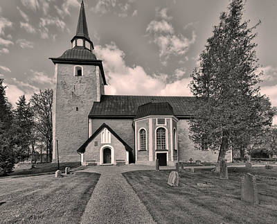 Photograph - Monochrome Enkopingsnas Church May by Leif Sohlman