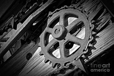 Monochrome Gear Wheel Art Print
