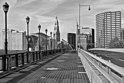 Photograph - Monochrome Hartford Skyline by Frozen in Time Fine Art Photography