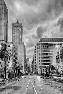 Monochrome Image Of The Marshall Suloway And Lasalle Street Canyon Over Chicago River - Illinois Art Print by Silvio Ligutti