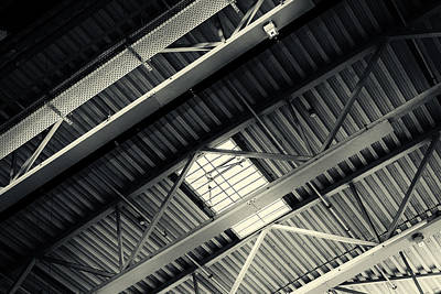 Photograph - Monochrome Interior Ceiling Struts Abstract by John Williams