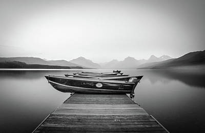Photograph - Monochrome // Lake Mcdonald, Glacier National Park by Nicholas Parker