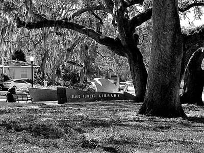 Photograph - Monochrome Lakeland Public Library Sign  by Chris Mercer