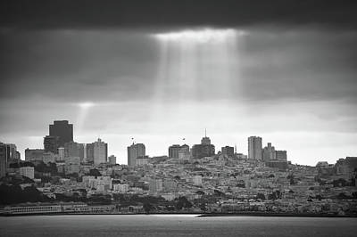 Photograph - Monochrome Lights Over San Francisco California by Gregory Ballos